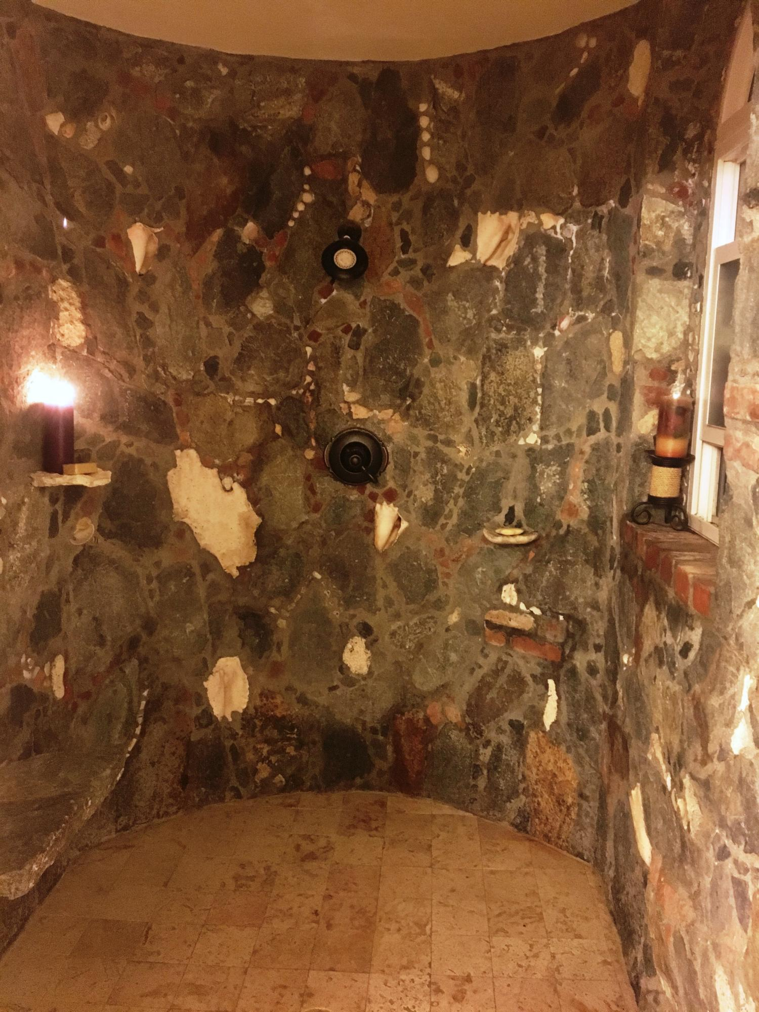 Upper level: stone shower #1