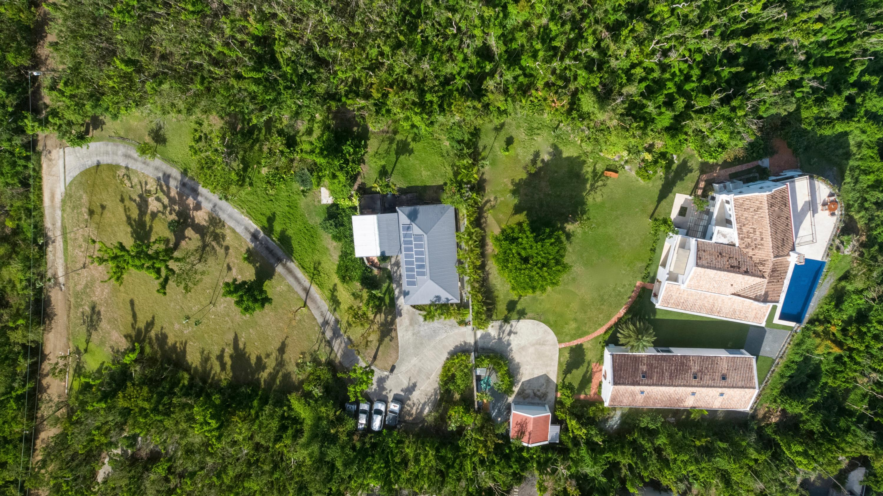 Aerial of the two acre knolltop