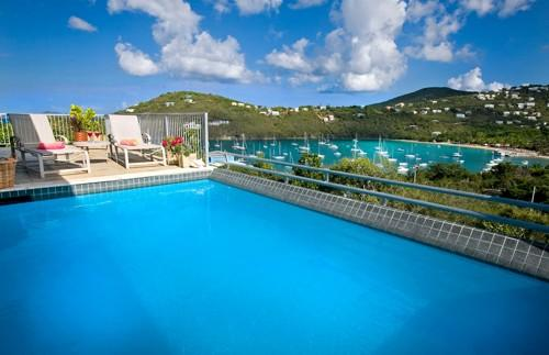 Pool overlooks Great Cruz Bay and beach