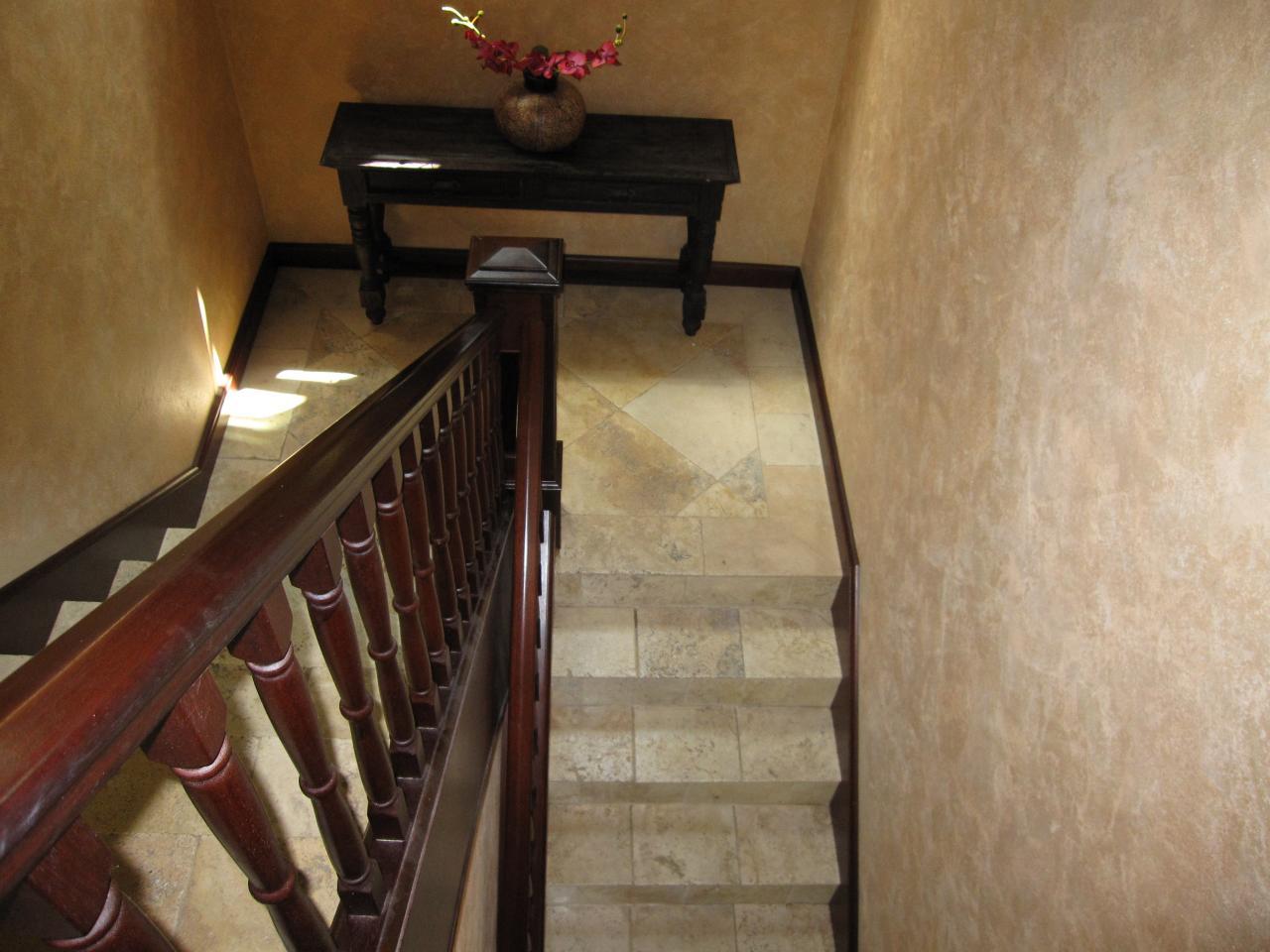 Interior mahogany staircase