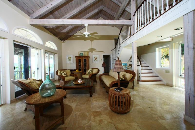 Living room has high ceilings