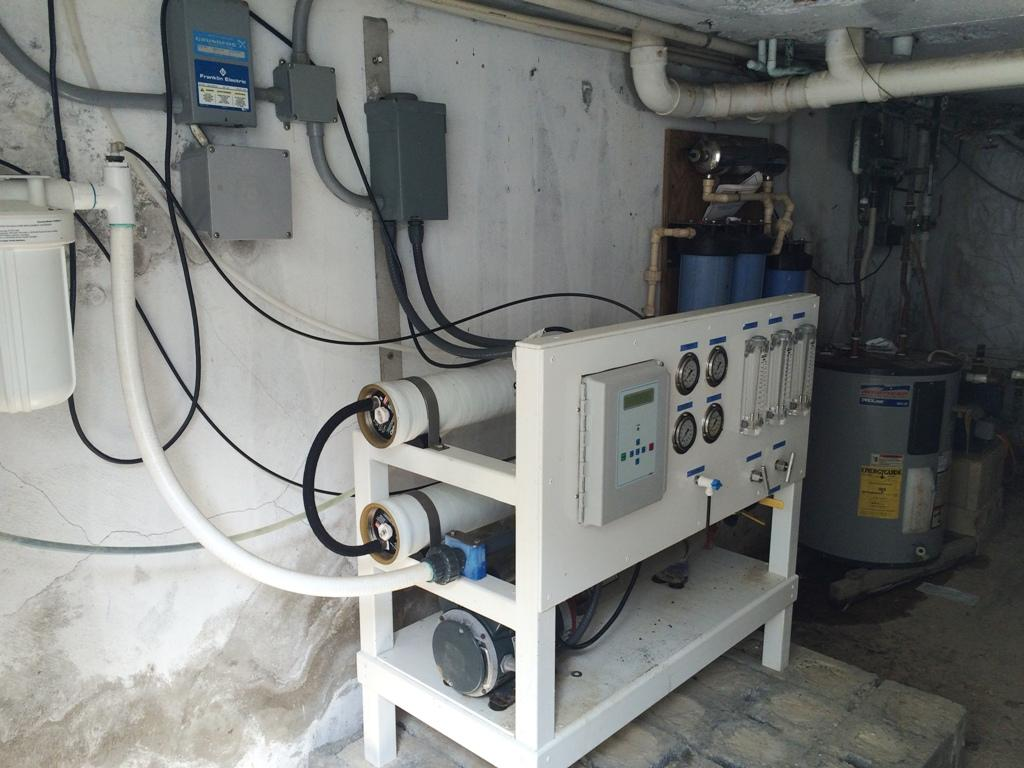 Reverse Osmosis system in pump room