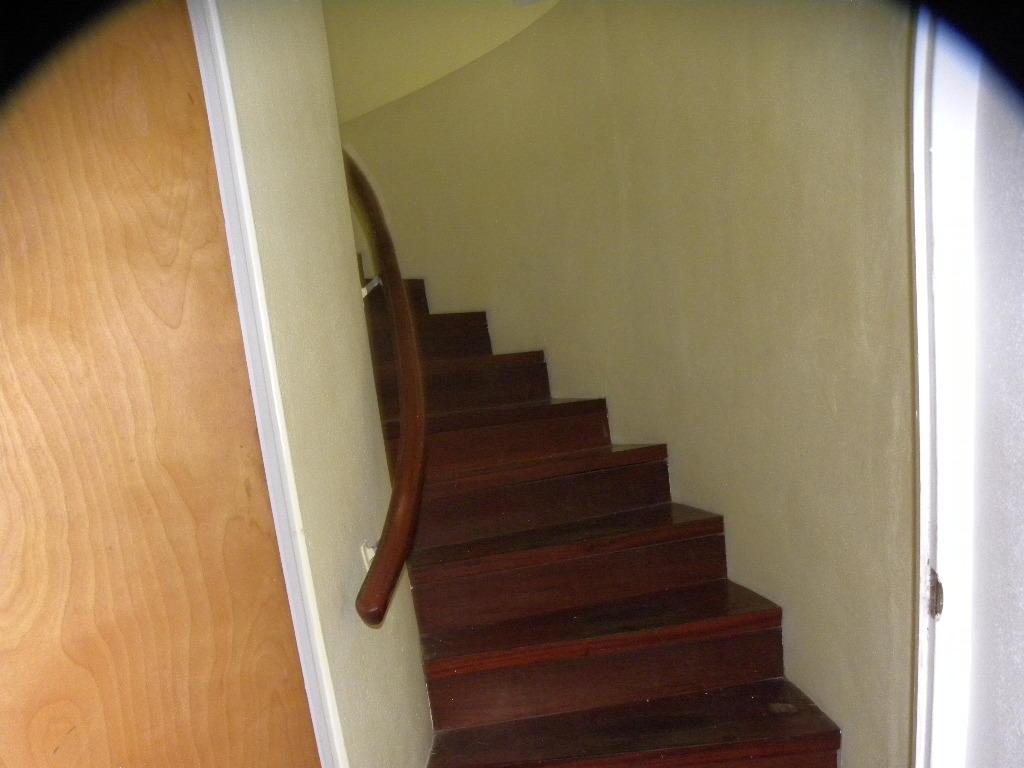 Winding mahogany staircase