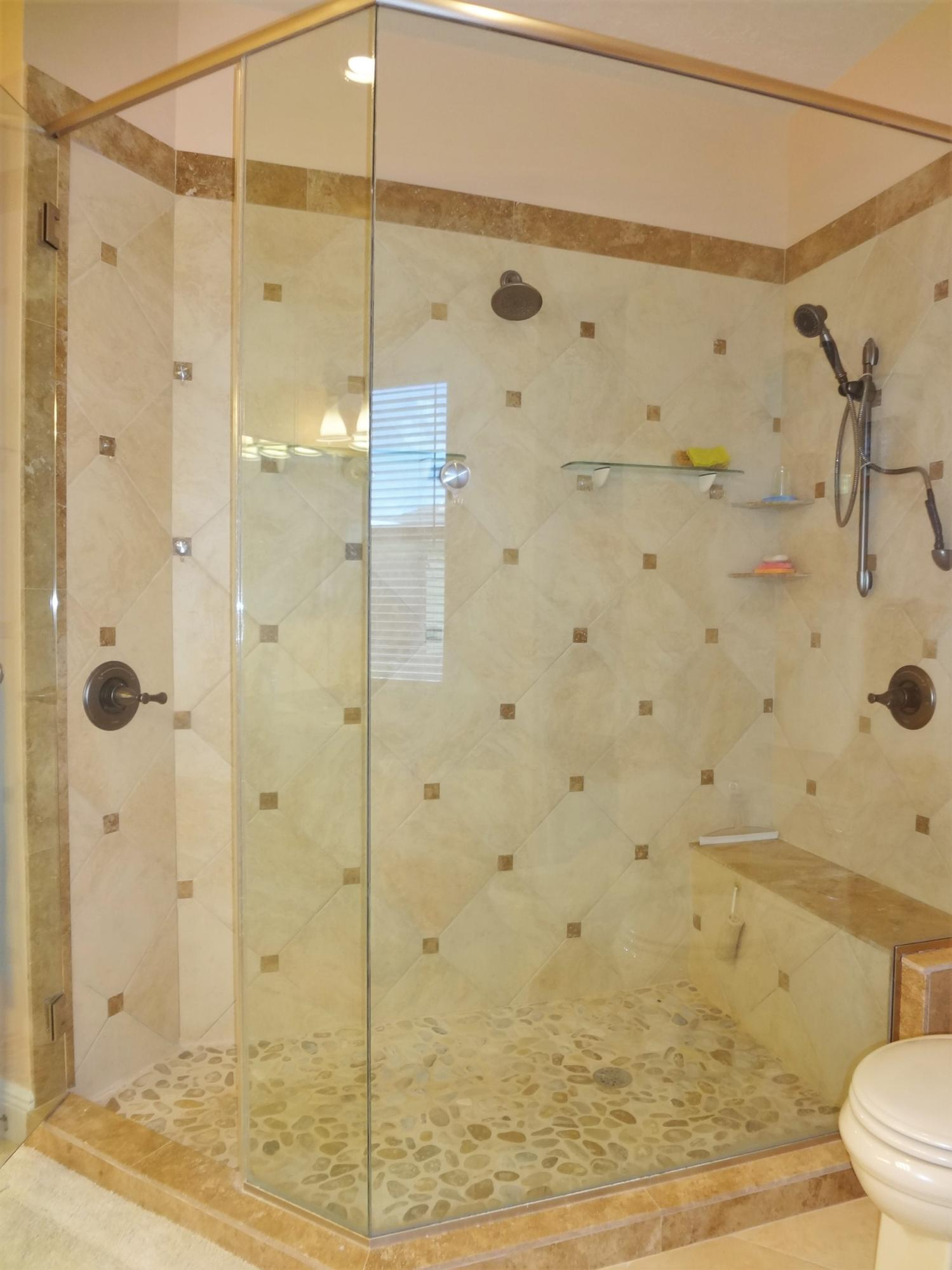Custom Stone & Glass Shower