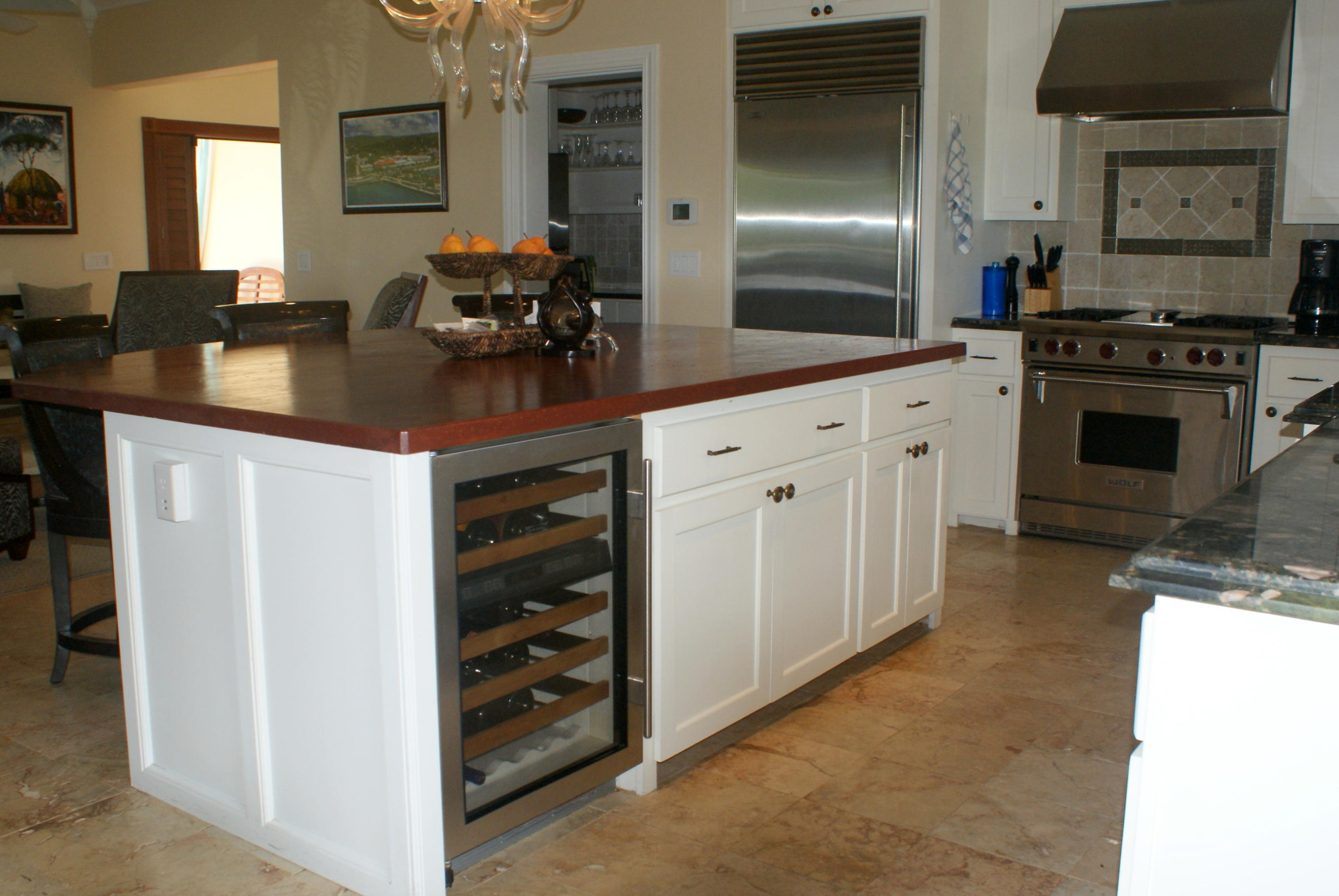 Large Island with Wine Refrigerator