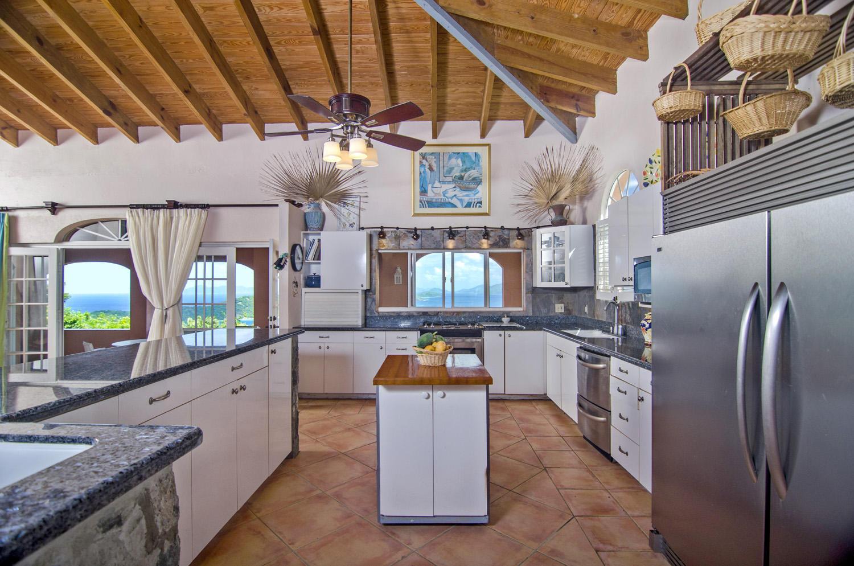 Wide kitchen with blue bit stone/granite