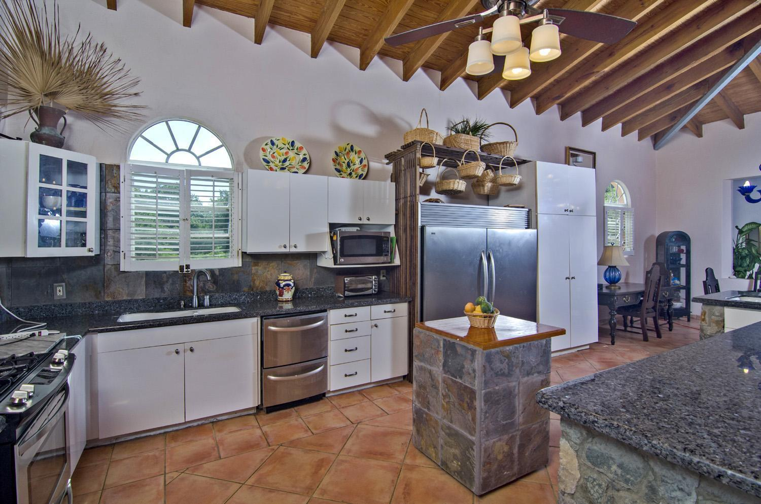 Great space in this kitchen with views.