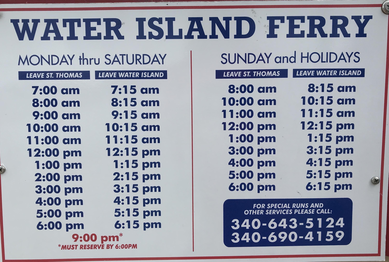 Water Island Ferry Schedule