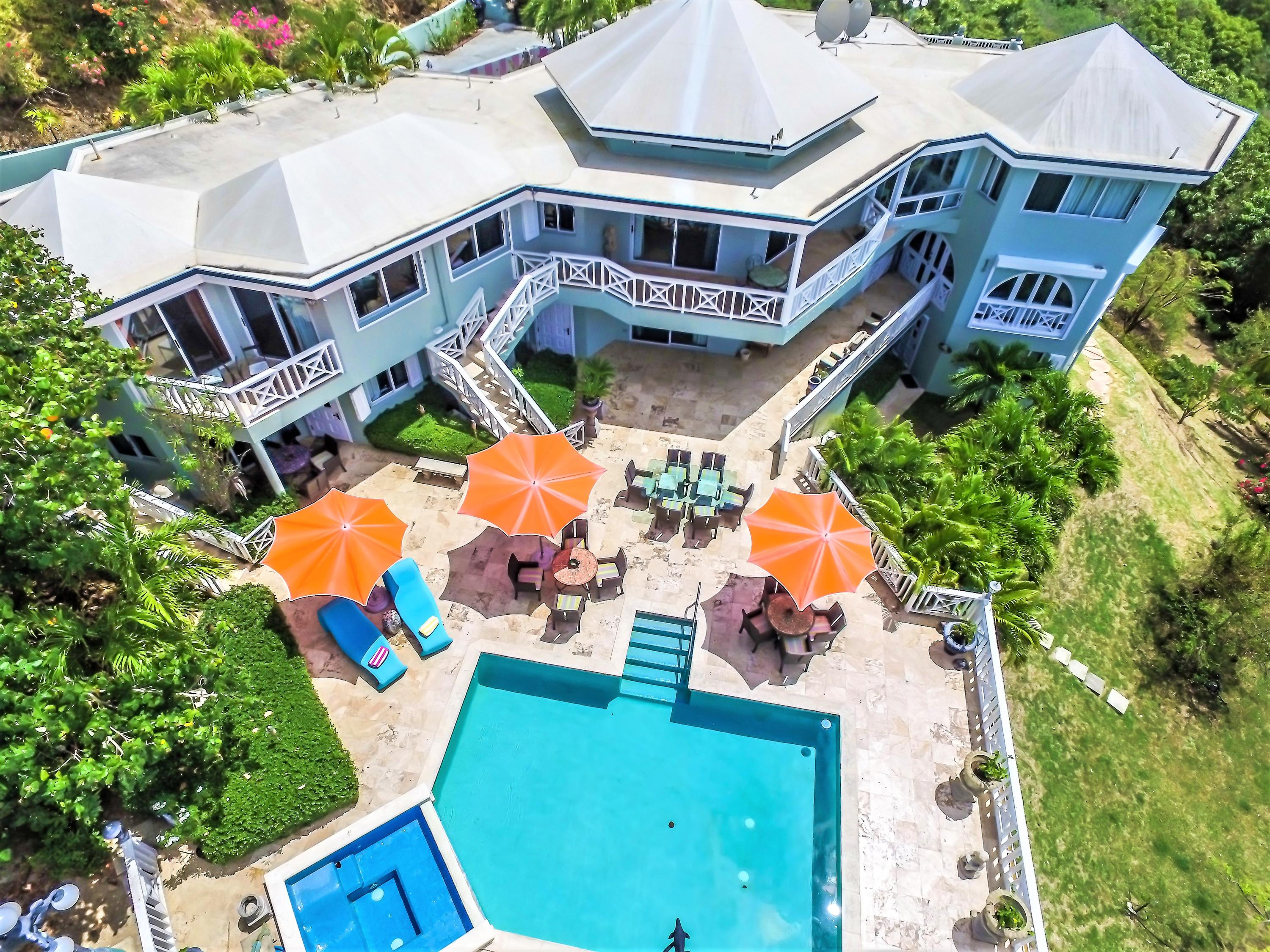 Aerial View of Pool and House
