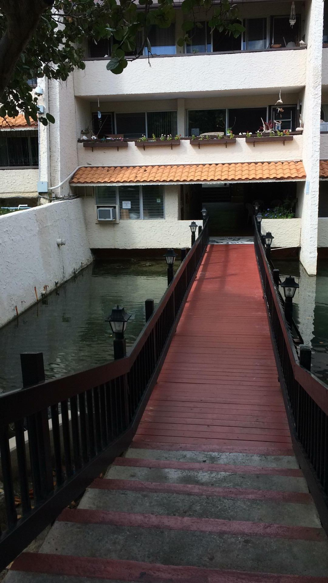 Bridge across lagoon