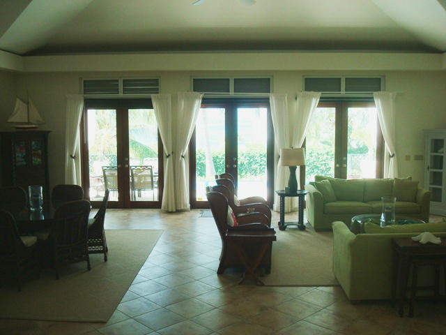 greatroom has french doors to pool area