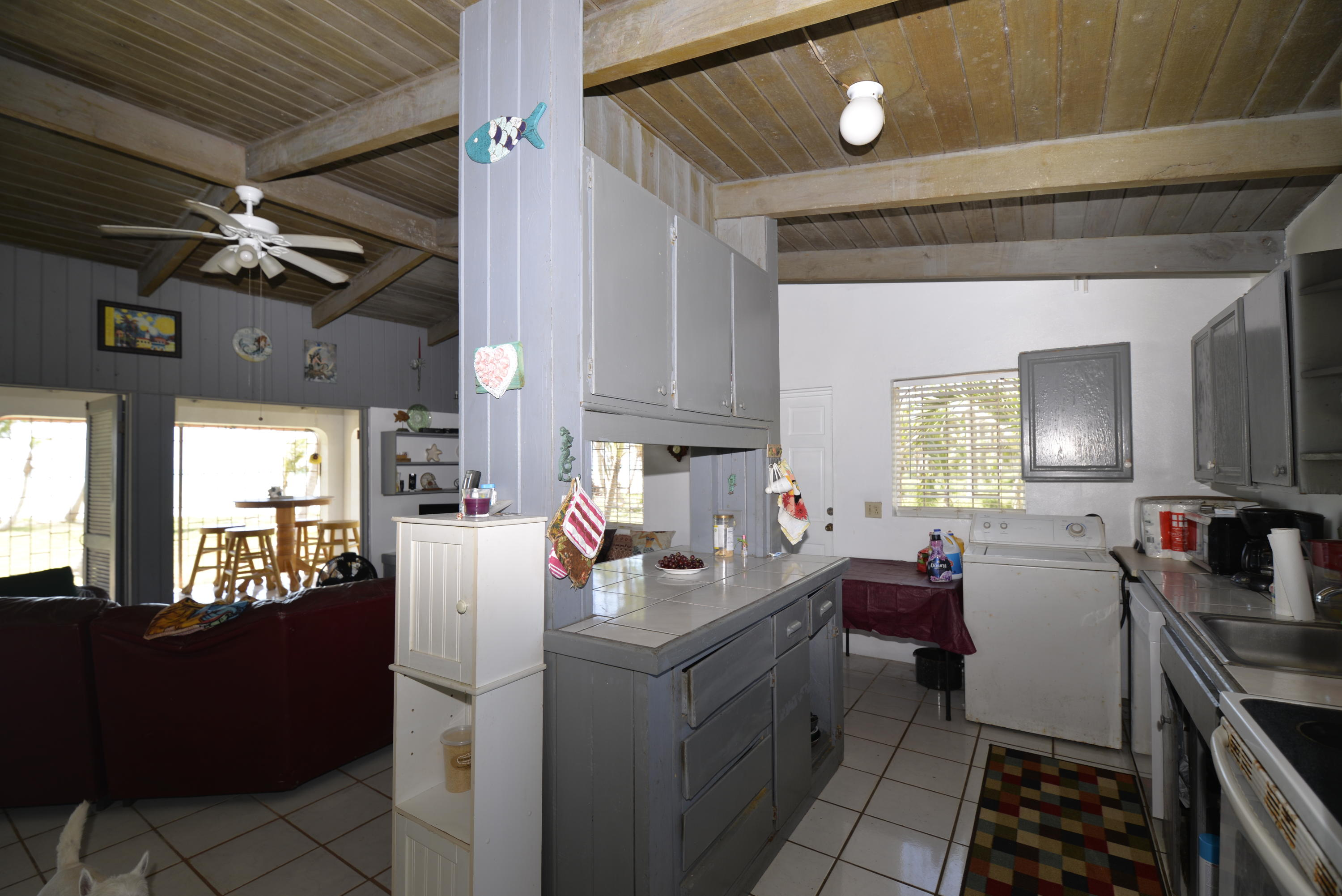 Cottage kitchen and living area