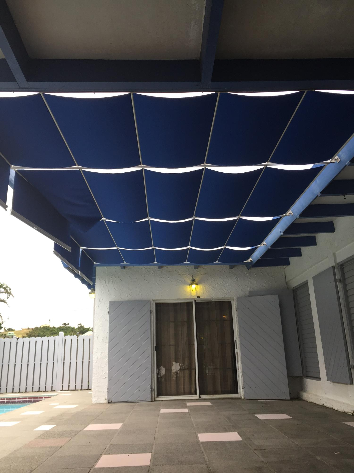 New shade cover adjacent to pool