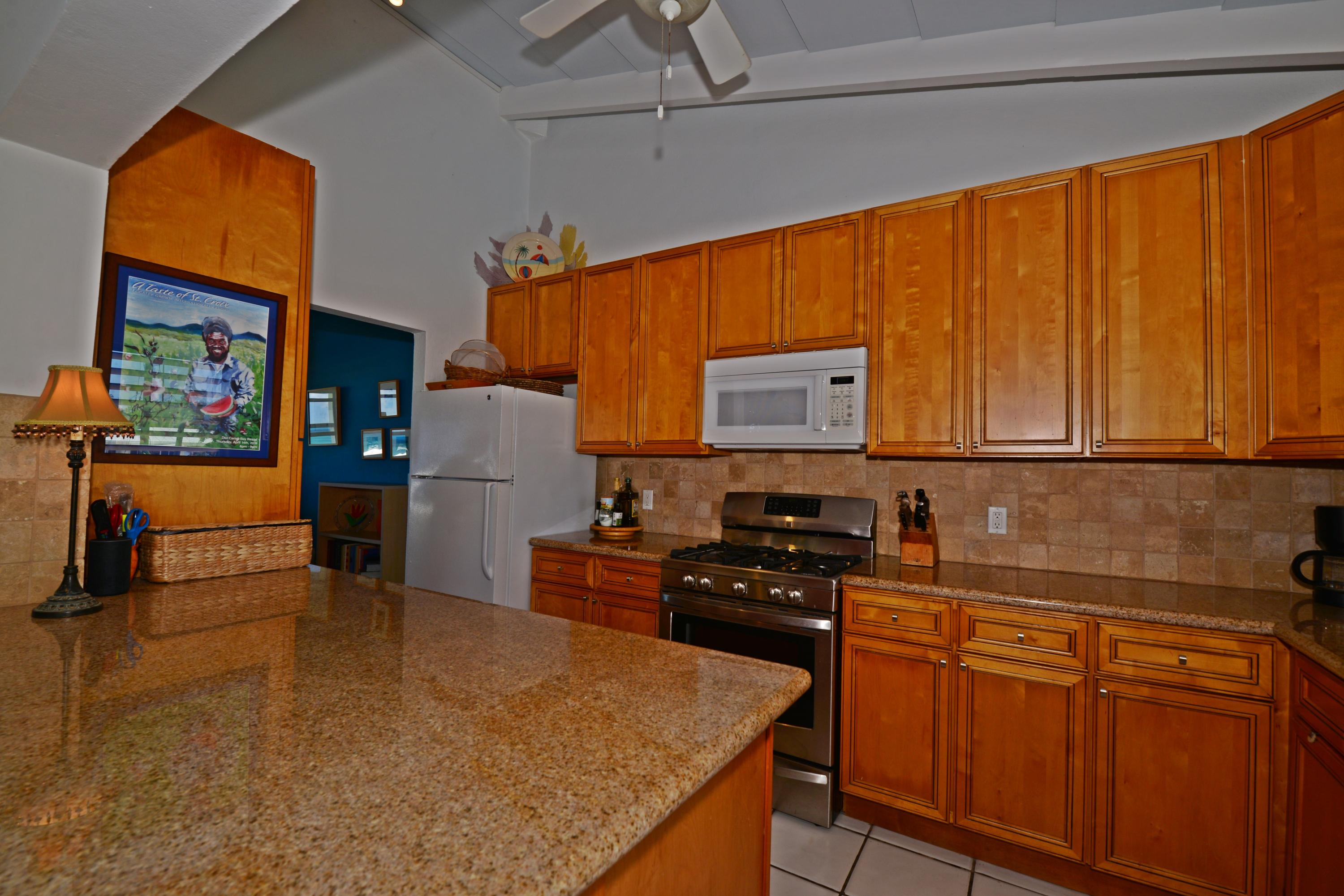 Granite counters and custom cabinets