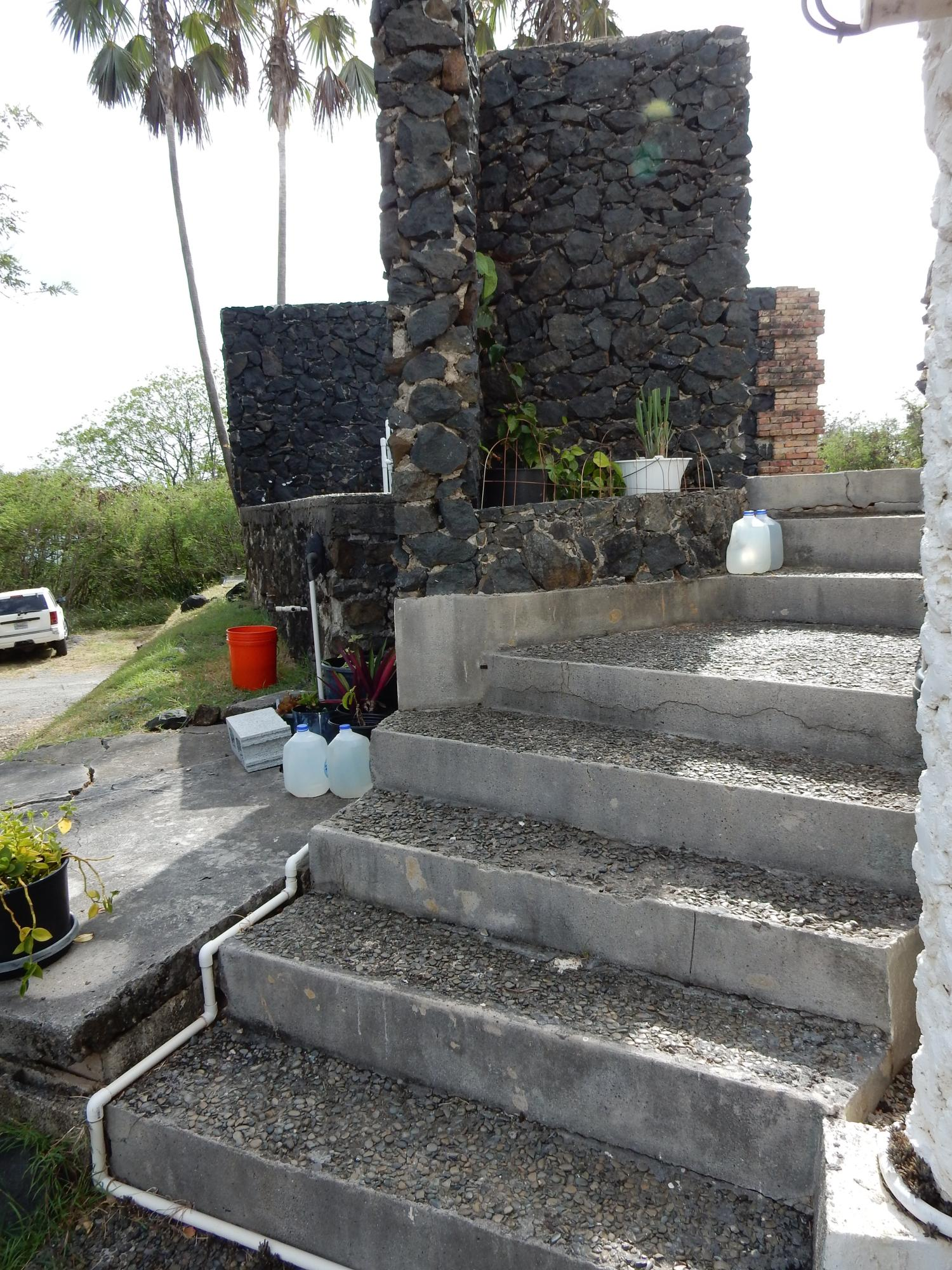 Steps up to terrace