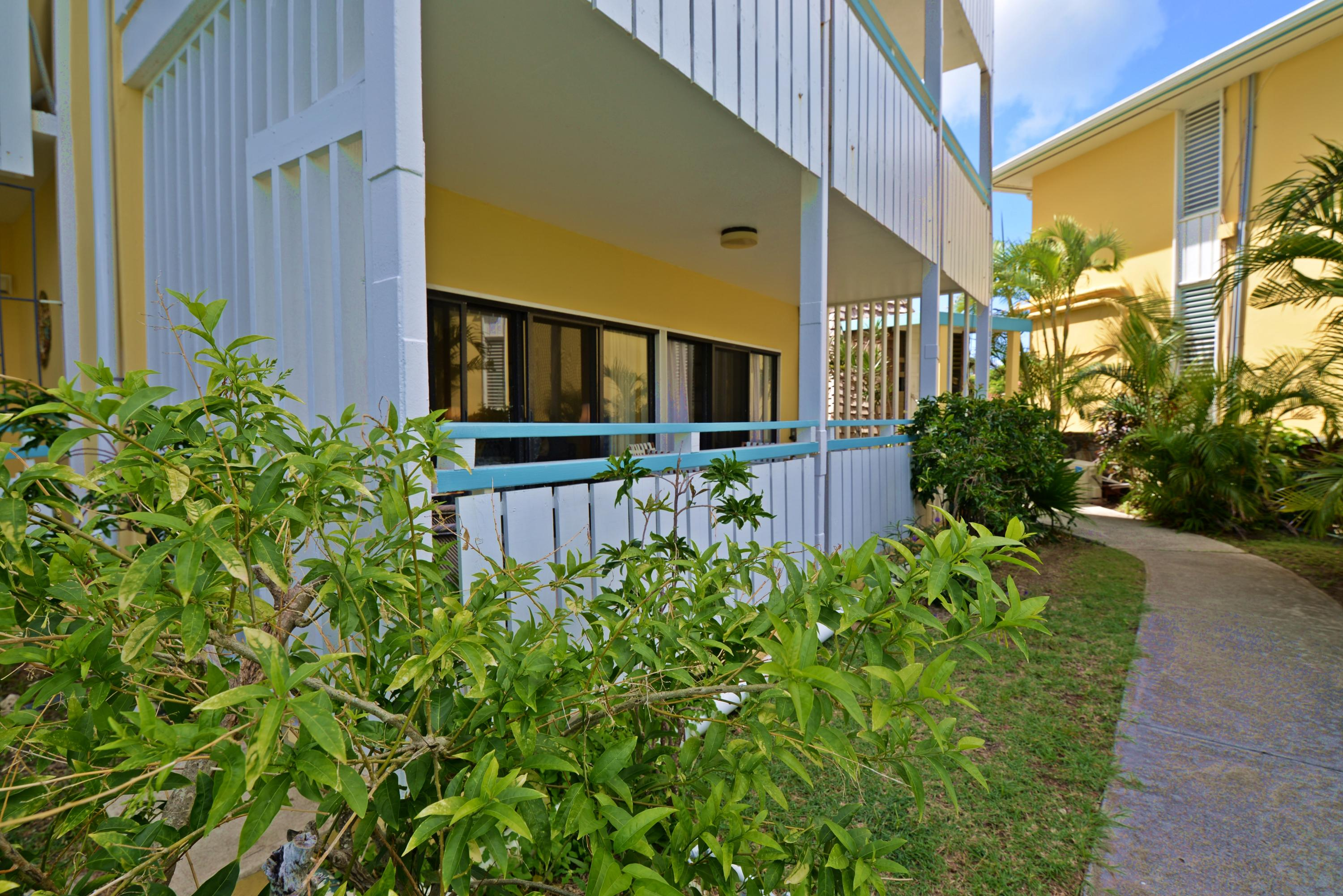 Pathway from beach and pool to unit