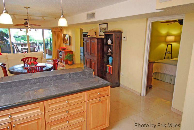 over view of kitchen & dining room