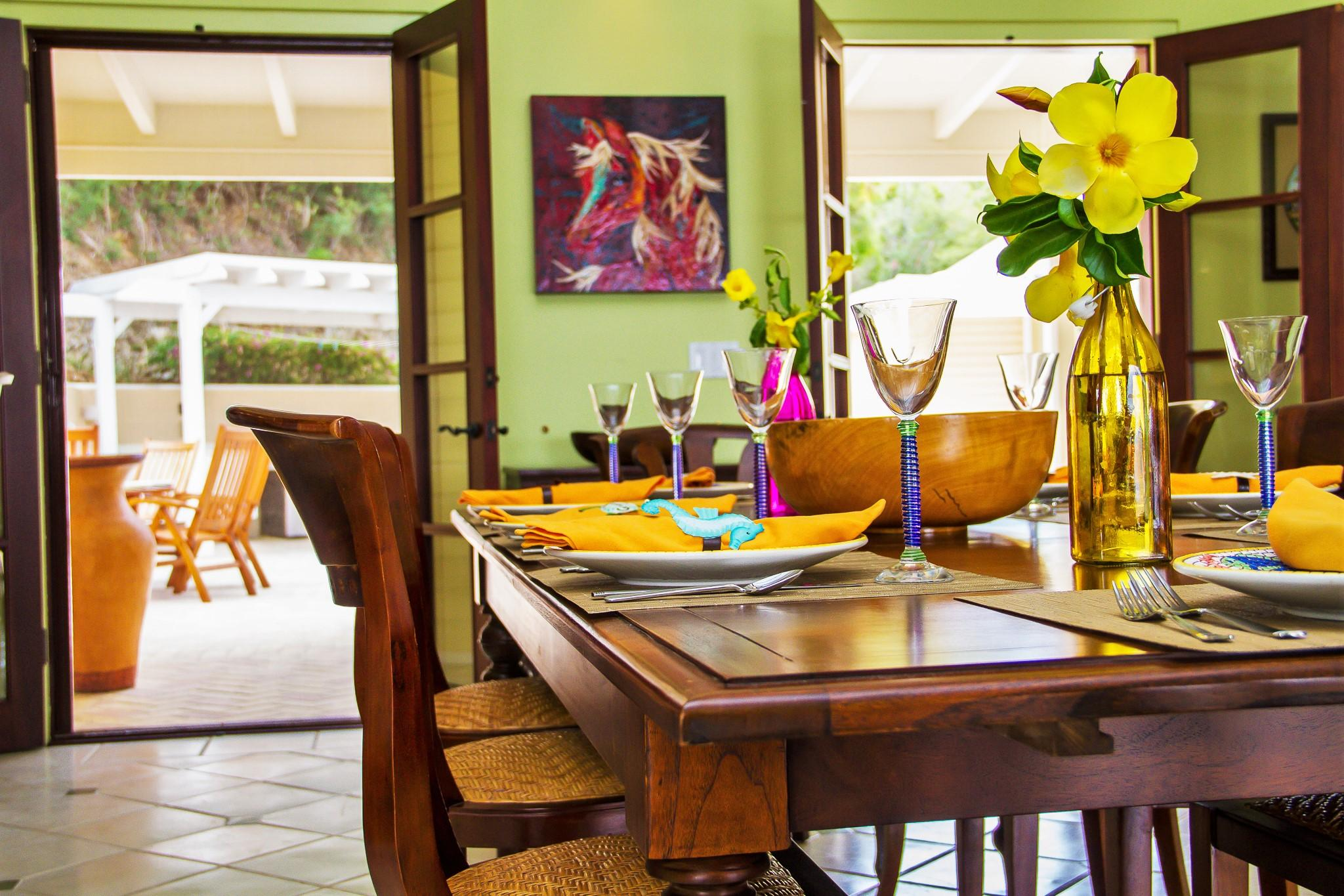 Dining Open to Courtyard & Pool
