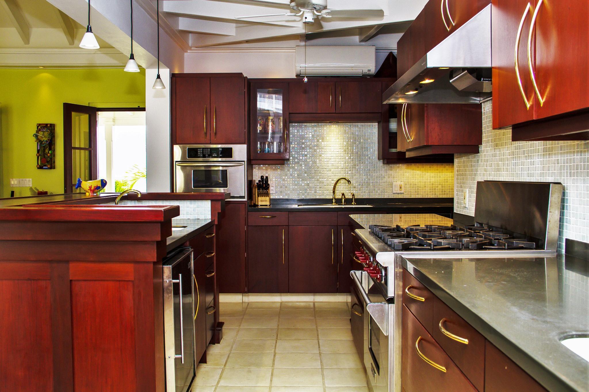 Chef's Range with Custom Tile Backsplash