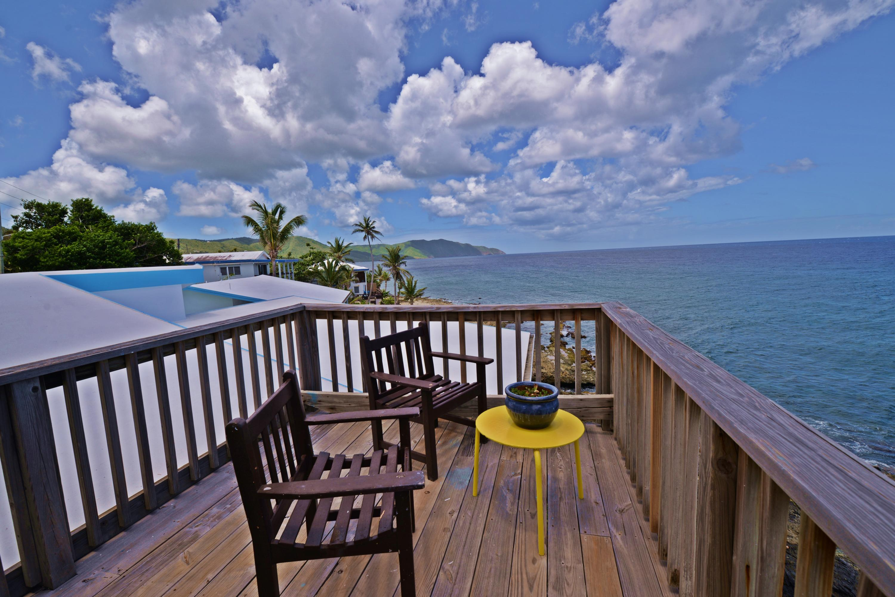 Private deck offof upper bedroom suite