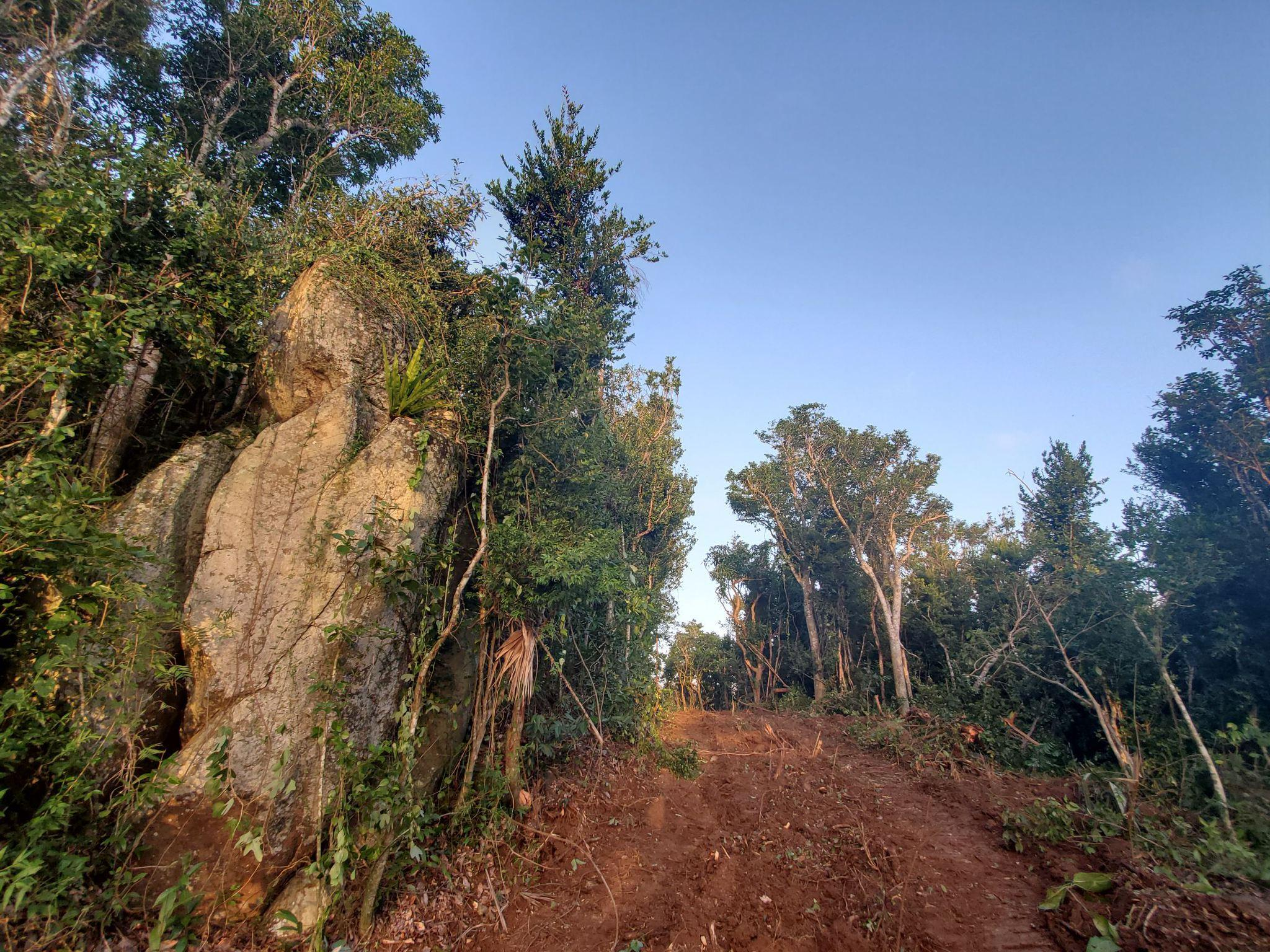 Stone outcroppings along the path