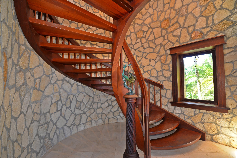 Gorgeous spiral staircase leading to mas