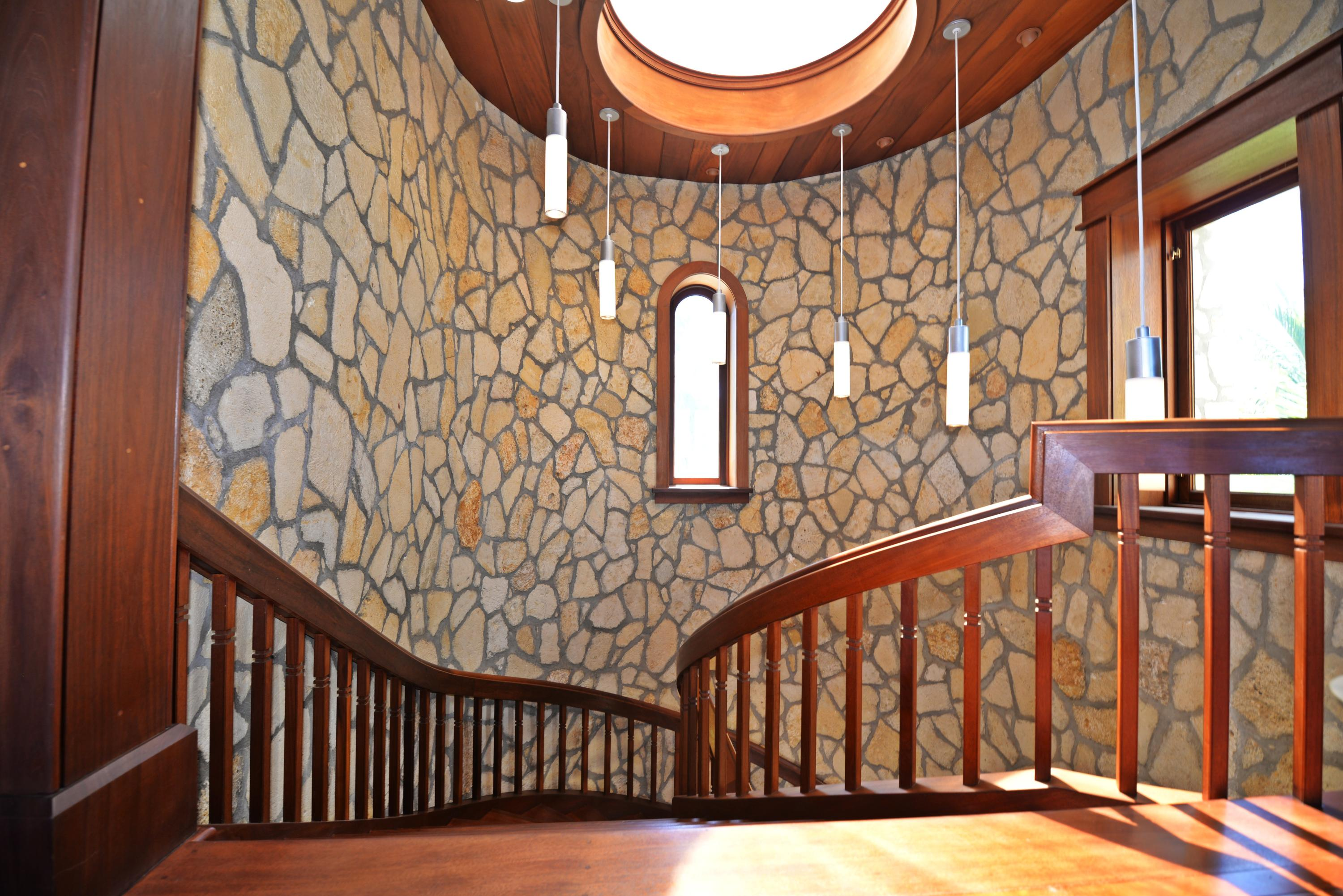 Stairwell to upper level with custom pen